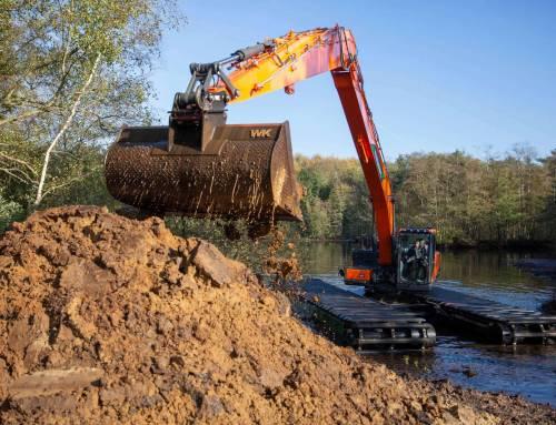 Swamp excavator deployed for maintenance
